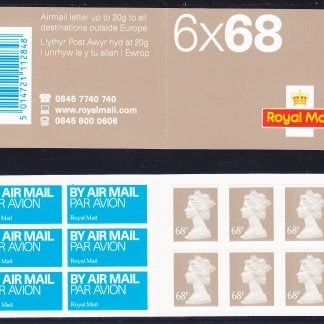 Booklet Airmail NB1 68p Plain 2003
