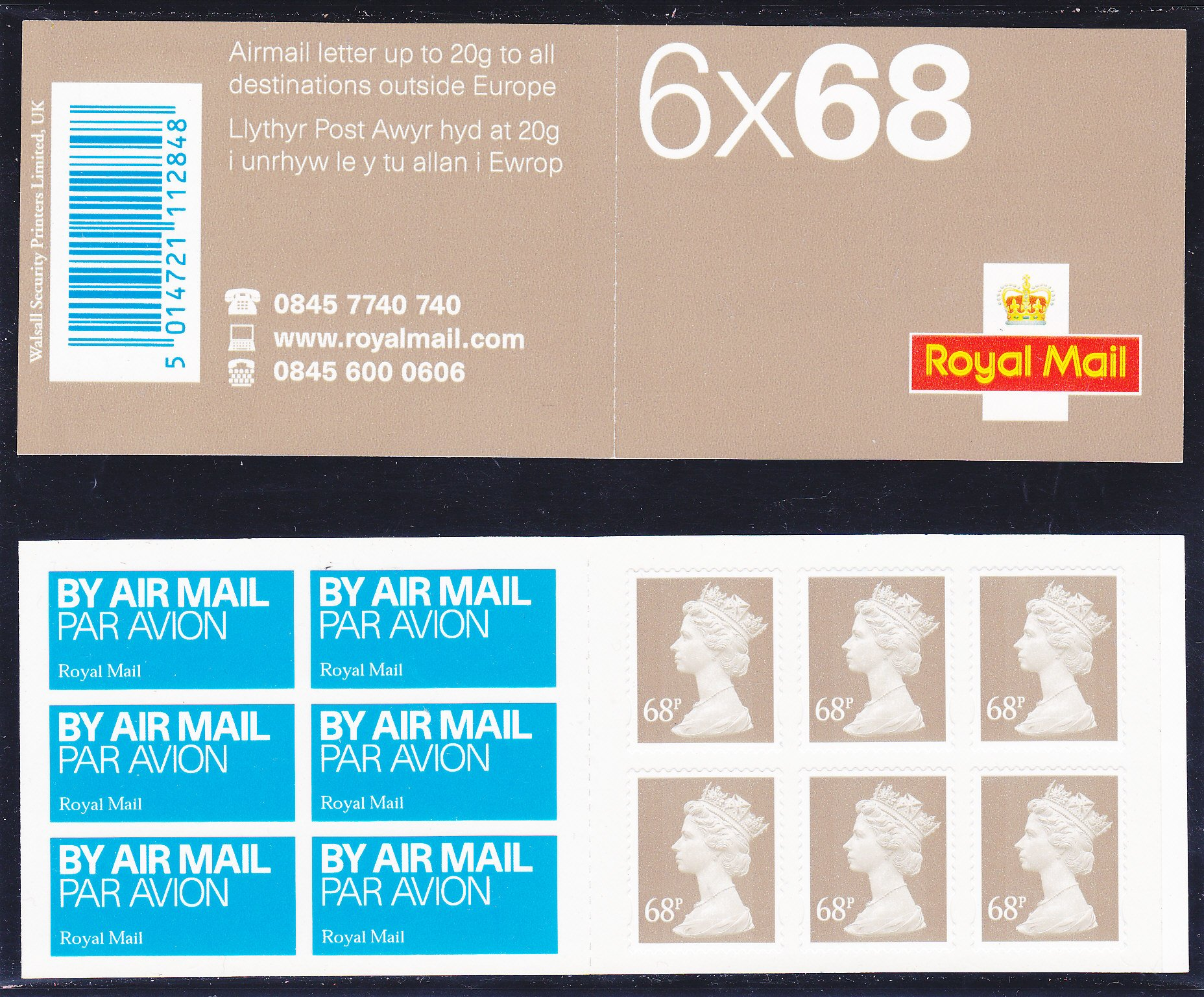Booklet Airmail NB1 68p Plain 2003