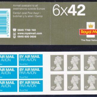 Booklet Airmail NA2 42p Plain TRN 2003