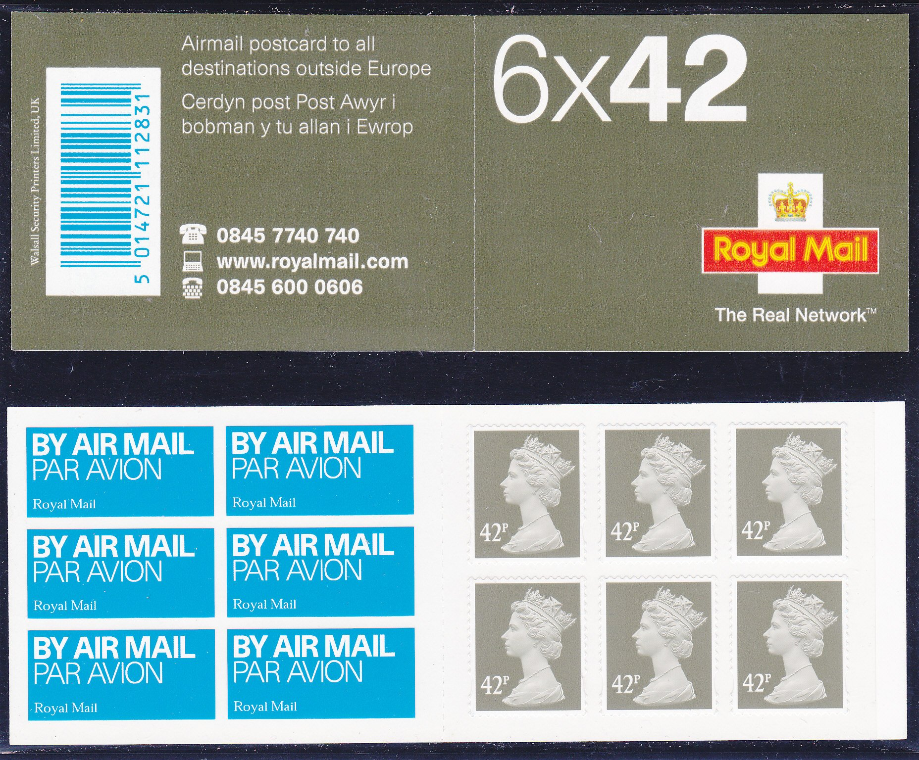 Booklet Airmail NA2 42p Plain TRN 2003