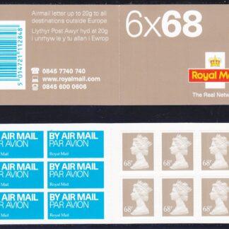 Booklet Airmail NB2 68p Plain TRN 2003