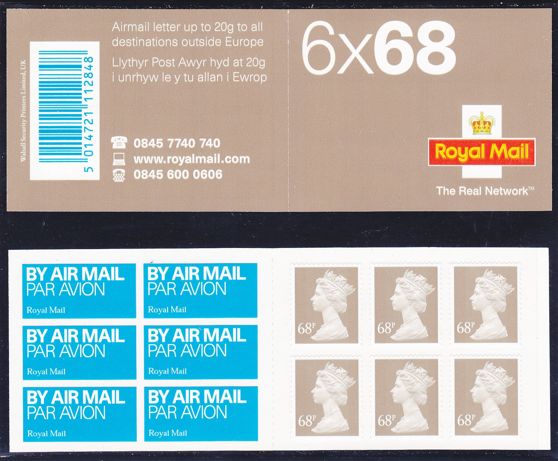 Booklet Airmail NB2 68p Plain TRN 2003