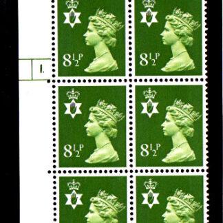 Machin NI XN34 8½p Cyl 1 No Dot
