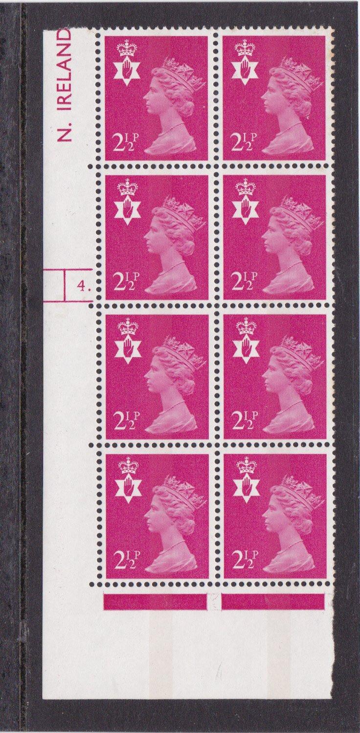 Machin N.Ireland XN18 2½p Cylinder 4