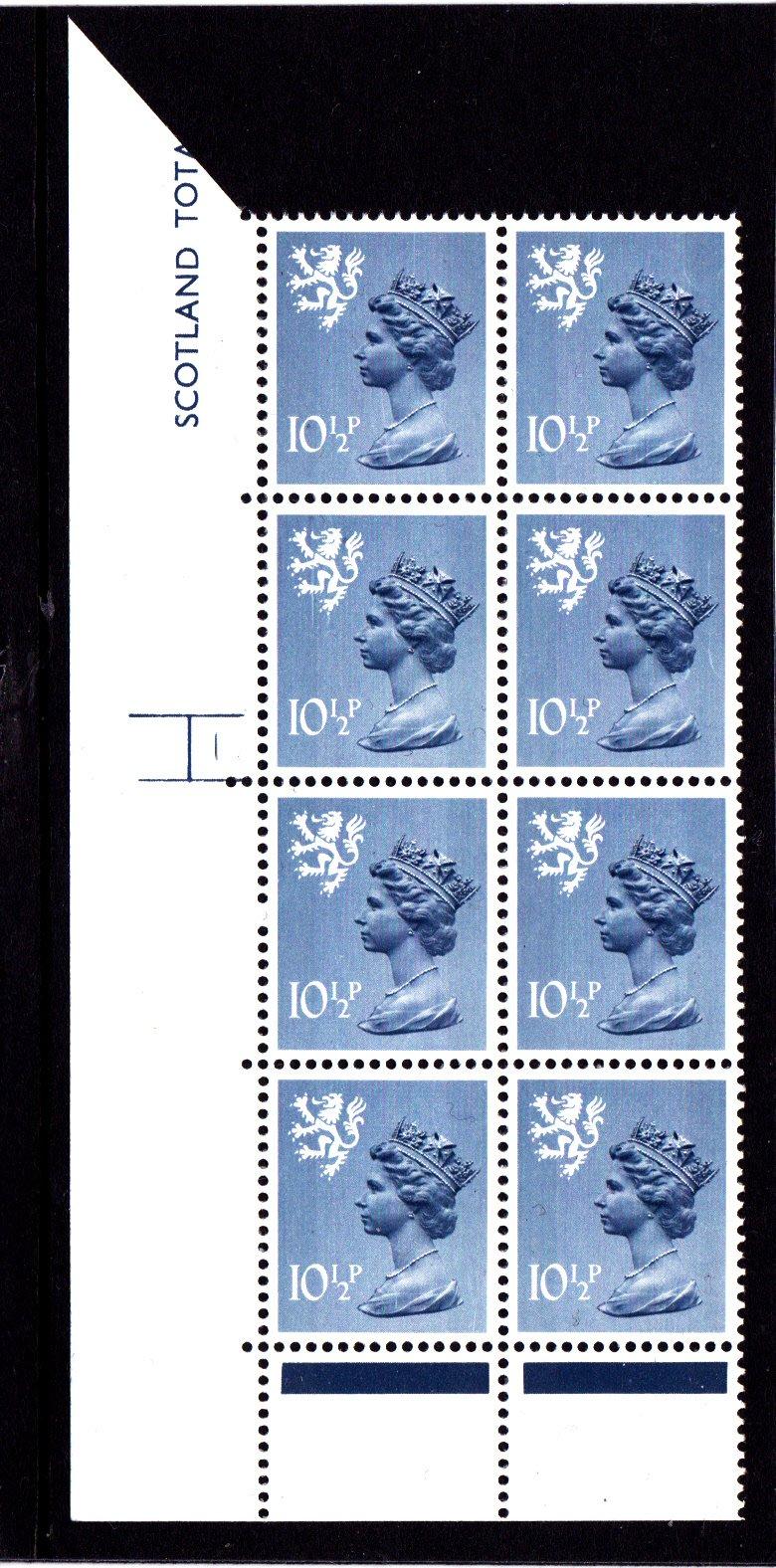 Machin Scotland XS54 10½p Cyl 1 No Dot Phosphor 30