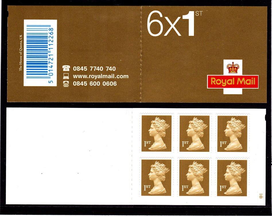 Booklet MB3 Machin Cylinder 1st Gold Questa Q1