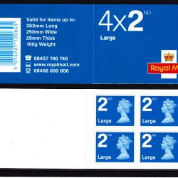 Booklet RA1 Machin Cylinder 2nd Large blue Walsall W1