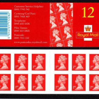 Booklet MF1 Machin Plain 1st Red with Ink Mark