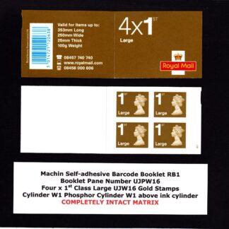 Booklet RB1 Machin Cylinder W1 ERROR Intact Matrix