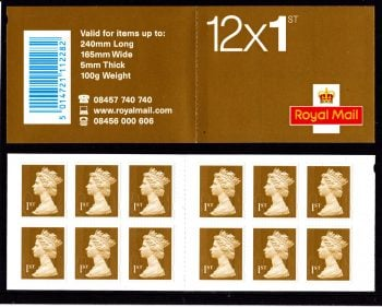 Booklet MF5a Machin Plain Walsall Printers Name Omitted