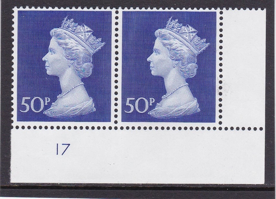 Machin UC9 50p Plate 17 Post Office Phosphorised Paper