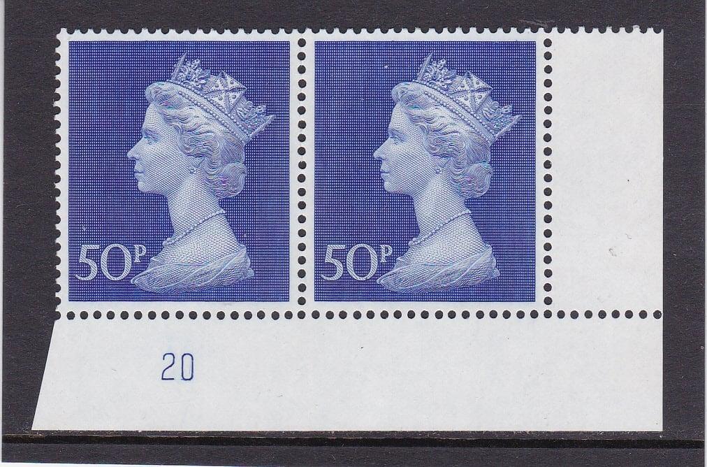 Machin UC9 50p Plate 20 Post Office Phosphorised Paper
