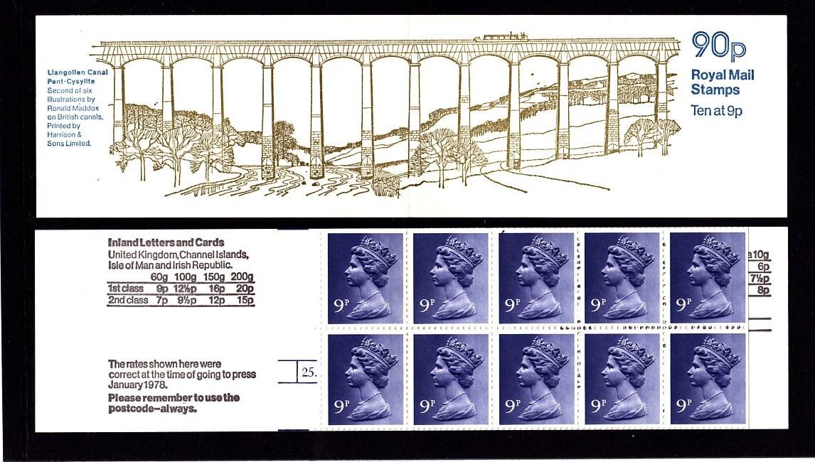 Booklet FG3A Machin 9p Cylinder Dot Llangollen Canal