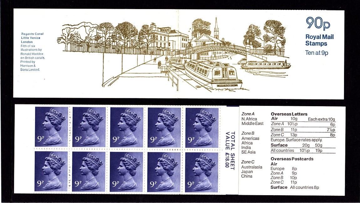 Booklet FG6B Machin 9p Plain Regents Canal