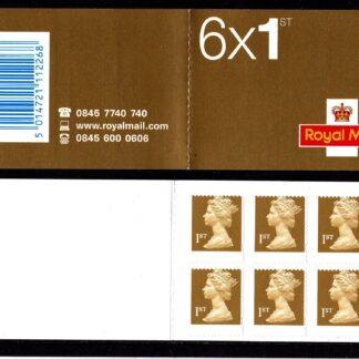 Booklet MB3 Machin Plain 1st Gold Questa Misperf Error