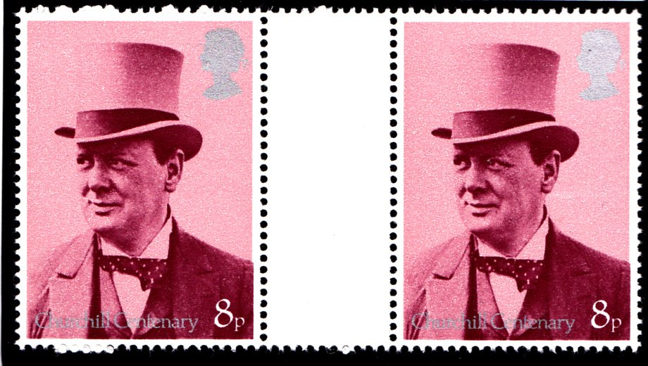 Gutter Pair 8p Churchill Centenary 1974 PVA Scarce