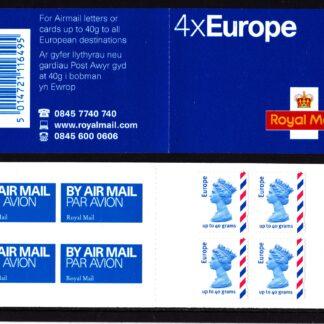 Booklet Airmail MI2 Europe Cylinder Error 2004