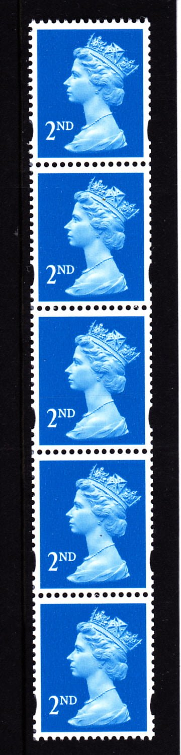 Machin UDA2 2nd De La Rue Strip from 10000 Stamp Roll