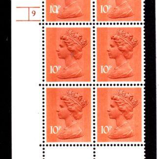 Machin U185 10p 1979 Cylinder 9 Phos 34 Upper Pane