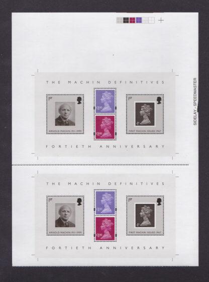 Press Sheet PZ002 Machin Definitives Top Right