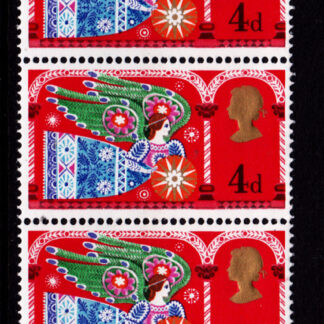 Christmas 1969c Commemorative 812b Strip 4d. Commemorating Christmas. This stamp shows 'The Herald Angel'. Traditional religious themes are featured on these stamps by Austrian-born designer Fritz Wegner. Issued 26th November 1969. Printed in photogravure by Harrision &